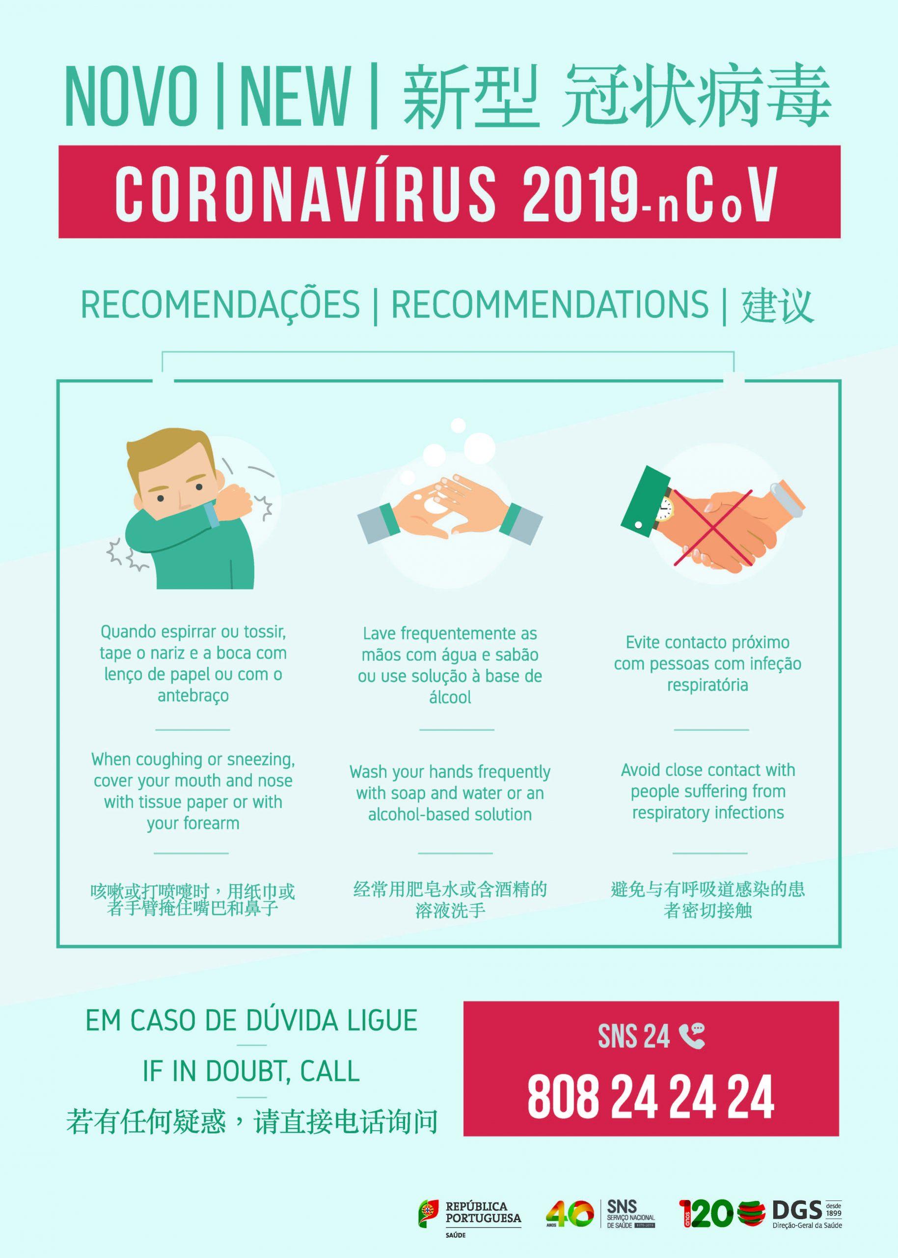 CORONAVÍRUS: RECOMENDAÇÕES DA DIREÇÃO-GERAL DA SAÚDE